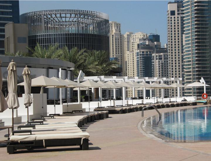 Umbrellas at the Address Dubai Marina