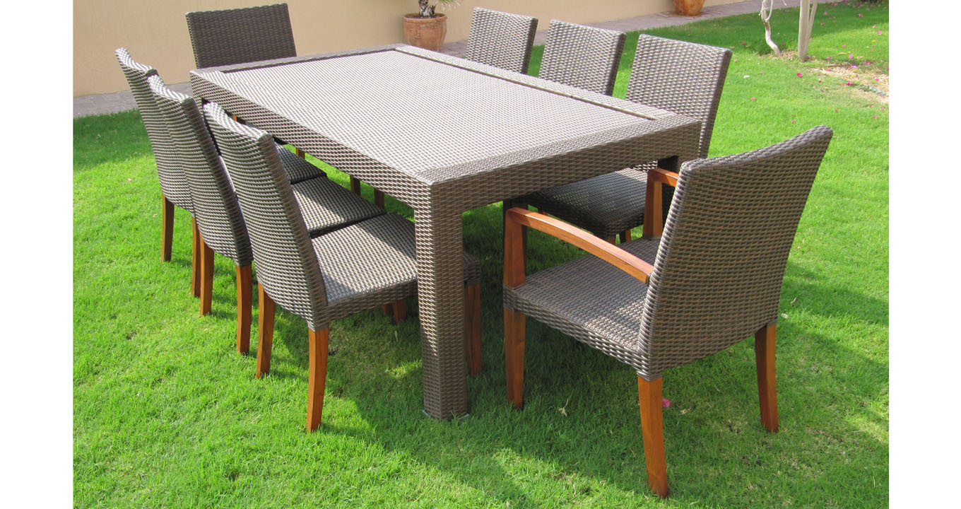 Teak and synthetic outdoor dining set warehouse furniture Synthetic wood patio furniture
