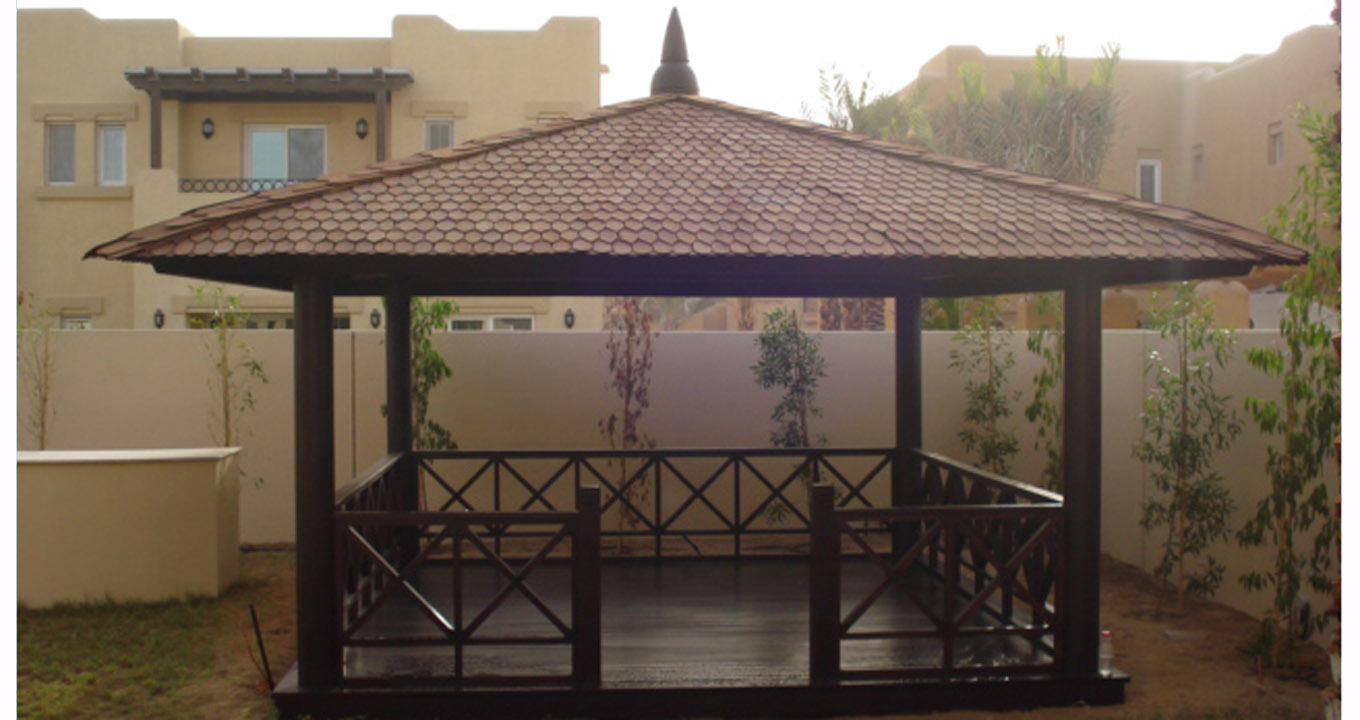 Stunning Shingle Roof Gazebo With Deck In Dubai