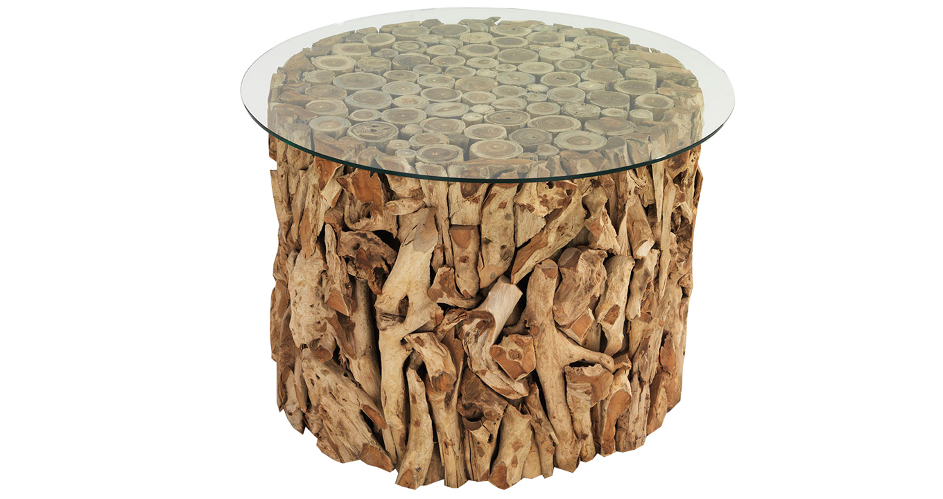 glass table coffee pin round driftwood and