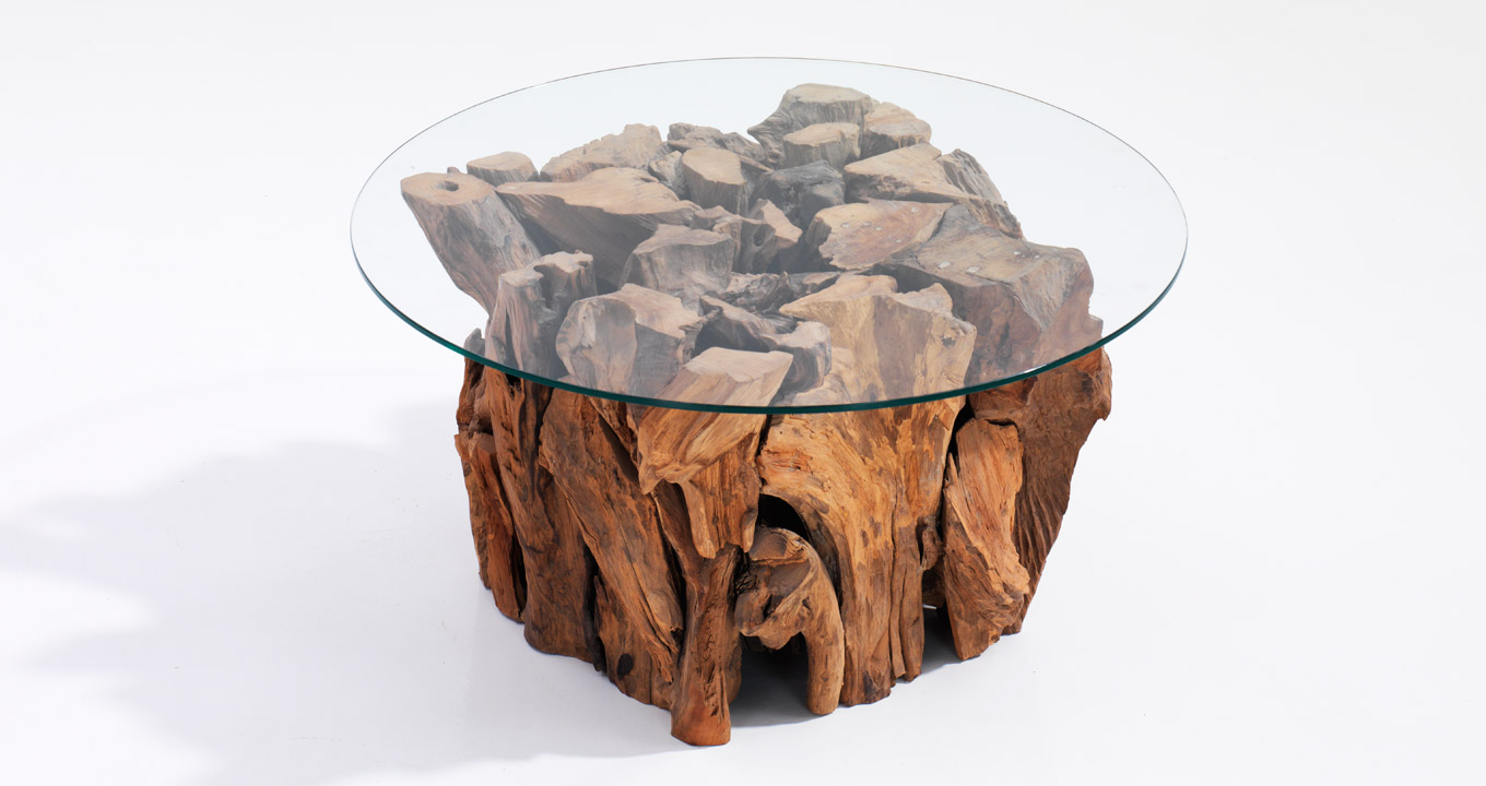 Root Coffee Table With Glass Top Dubai Organic Designer