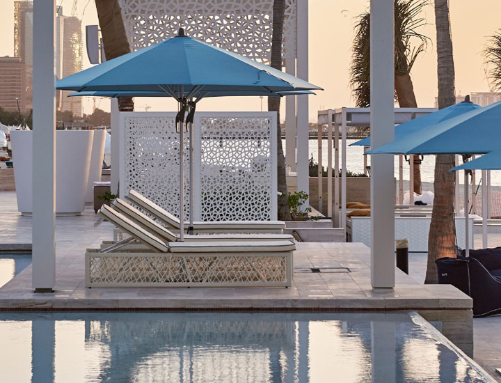 Royal Mirage Beach Club umbrellas