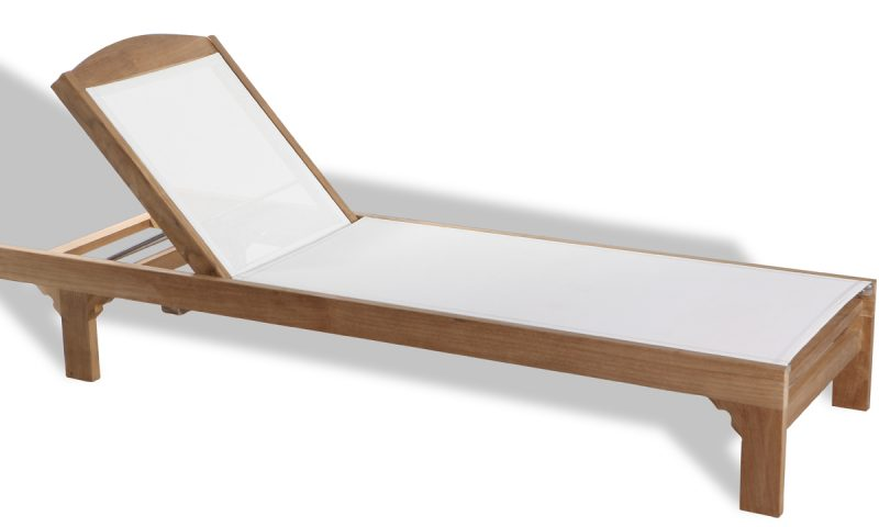 wood and batyline sunlounger