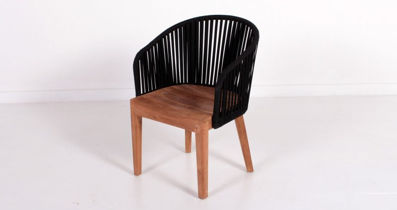 Teak and rope outdoor armchair