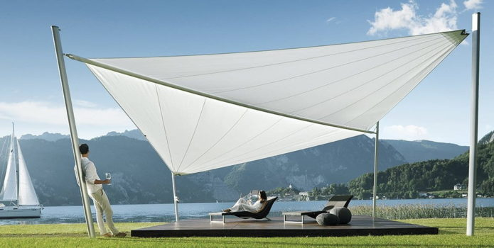 Motorised Shade Sail by a Lake